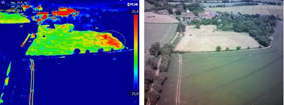 Anomalie thermique chaude observée dans un pré venant d'être fauché (vue générale)