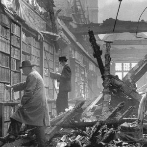 Interior view of the Holland House in Kensington, London after bombing (1940)