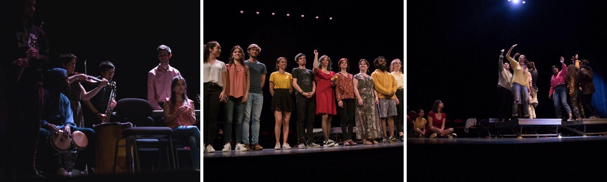 """Montage photos des étudiants de l'IFMI sur la scène du théâtre Jules Julien pour la pièce """"Michèle, doit-on t'en vouloir d'avoir fait un selfie à Auschwitz ?"""""""